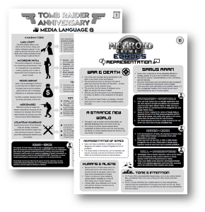 A Level AQA Media Studies Topic on a Page: Tomb Raider, Sims FreePlay, Metroid Prime Echoes