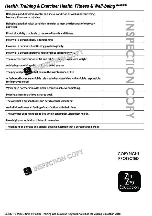 Keyword Activities for WJEC GCSE PE: Topics 1-5