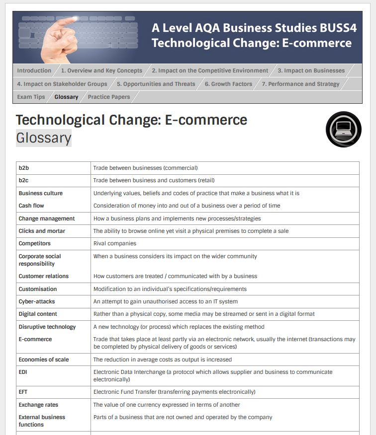 aqa buss4 Click here for our free mock paper for aqa business studies students, which relates to bullet 1 of the research theme the impact of e-commerce on the competitive environment within industries.